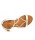 Nu pieds en cuir Les Tropéziennes par M Belarbi Hirondel blanc et or