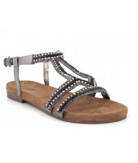 Chaussures Santafé Nikita étain | Sandale confort avec strass semelle anatomique en cuir