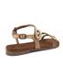 Sandale cuir Santafé Christa bronze, décor perles et strass pour femmes