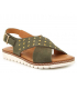 Sandale Kaola 2202 kaki, nu-pieds confortable en cuir spécial pieds sensibles