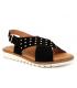 Nu pieds Kaola 2202 nubuck noir, sandale type confort en cuir souple pour pieds sensibles