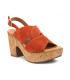 Chaussures Kaola 892 rouge brique, sandale compensée à talon décroché