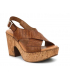 Compensé Kaola 895 marron, sandale talon décroché cuir aspect croco