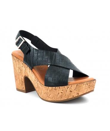 Chaussures Kaola 895 noire, sandale talon cuir aspect croco