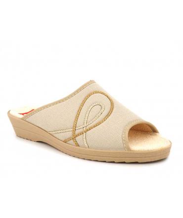 Pantoufle Soir et Matin Rosalie beige, mule petit compensé confortable, spécial pieds sensibles