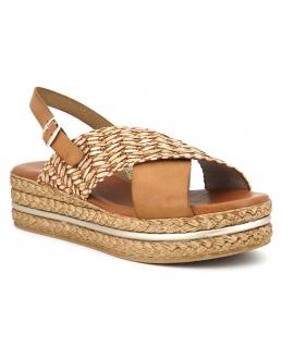Carla Tortosa 39215 cuir beige et raphia, sandale plateau confortable pour pieds sensibles