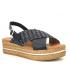 Carla Tortosa 39215 cuir et raphia noir, sandale plateforme pour pieds sensibles