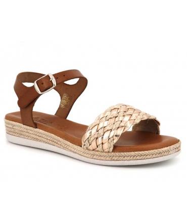 Sandale plateforme Carla Tortosa12067 dessus cordes et cuir saumon