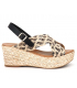 Carla Tortosa 69232 python noir | Sandale compensée en cuir semelle gel confort