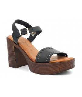 Carla Tortosa 89227 noire | Sandale haut taol en cuir pour pieds sensibles