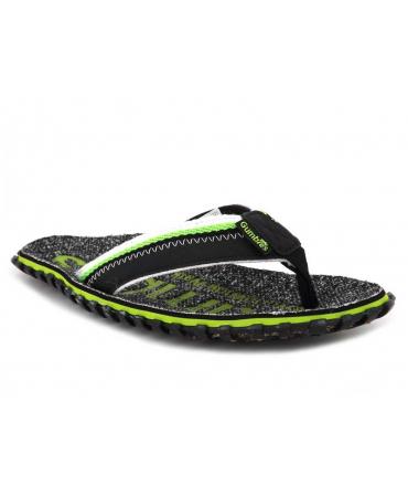 Tongs Gumbies Cairns vert | Semelle épaisse entre doigts tissu recyclé