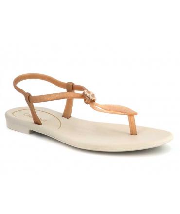 Grendha 18018 Cacau Marajo beige et nude, sandale plastique à la mode, fabriquée au Brésil