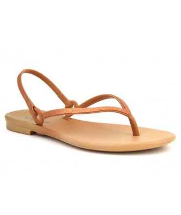 Sandale plastique Grendha Cacau Versatil doré, nu pieds avec entre doigts fabriqué au Brézil
