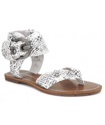 Chattawak Thalie serpent blanc, sandale femmes avec entre doigt + grosse boucle à la cheville
