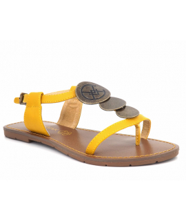 Chattawak Mélanie jaune, sandale entre doigts pour femmes