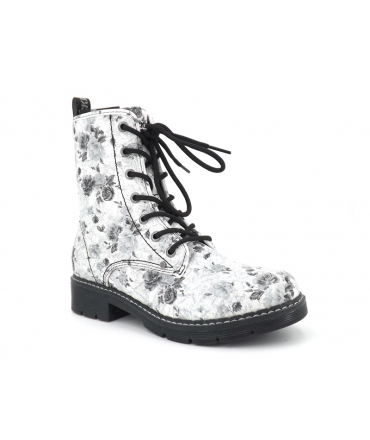 Boots Dockers by Gerli 45 PN 201, bottines femmes style Doc Martens décor fleurs