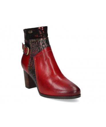 Bottines cuir Laura Vita Ancgieo 15 rouge , talon 6 cm