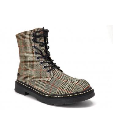 Dockers by Gerli 45 TS 201 marron | Boots style Doc avec imprimé à carreaux brun