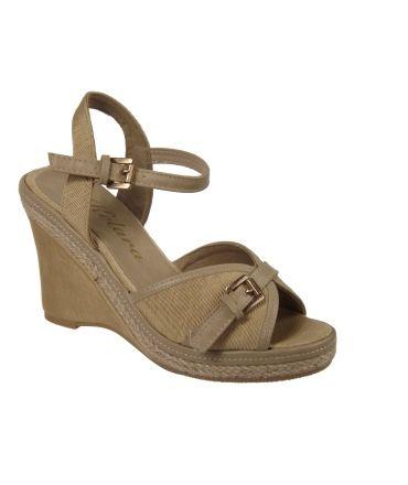 Sandales compensées textile et cordes Kelara