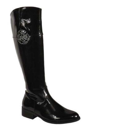 Bottes cavalières vernis noir LPB shoes, Yoko