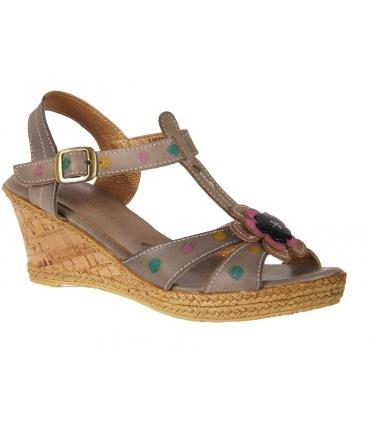 Sandale compensée Laura Vita Pantalon gris