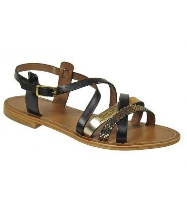Les Tropéziennes sandales Hapax noir-or