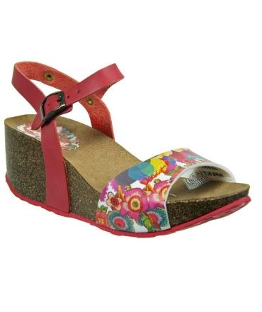 Desigual sandale compensee bio caramelo rouge