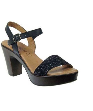Eva Frutos sandale bride cheville glitter noir