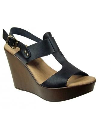 Sandale compensée cuir noir Eva Frutos