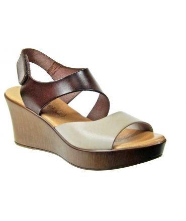 Eva Frutos sandale talon cuir marron