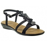 Eva Frutos sandale à strass cuir noir