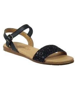 Sandale plate Eva Frutos glitter noir