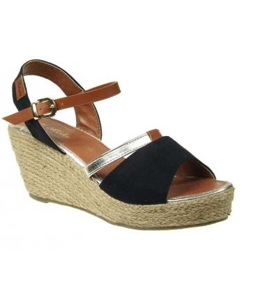Kelara sandale compensée cordes noire