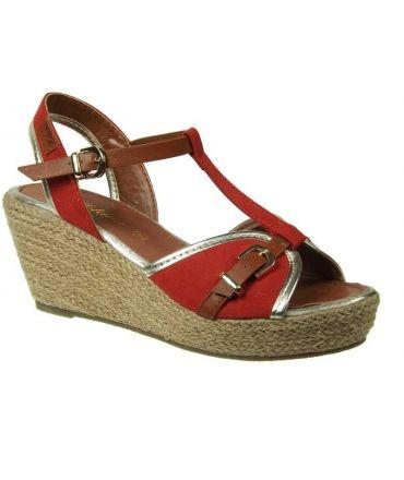 Kelara sandale compensée cordes salomé rouge