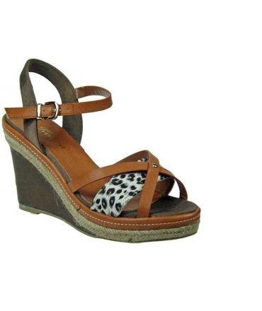 Espadrille compensée kelara leopard