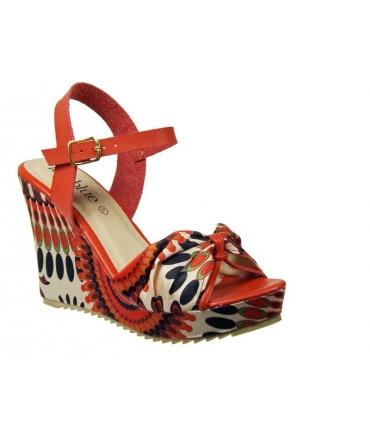 Lolablue sandale compensée rouge