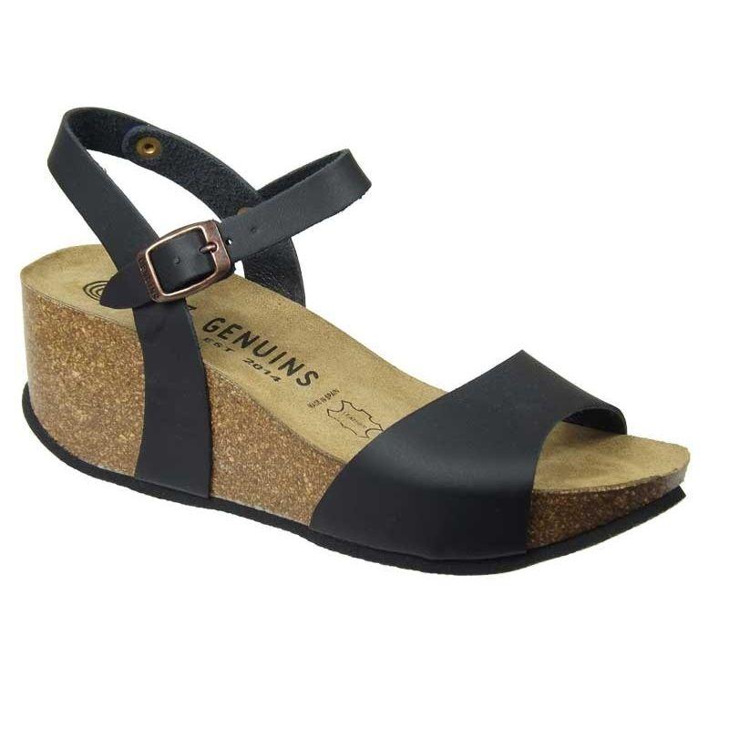 790839af05ccbc Ventes chaussures compensées, Genuins Riviéra noir, cuir écologique