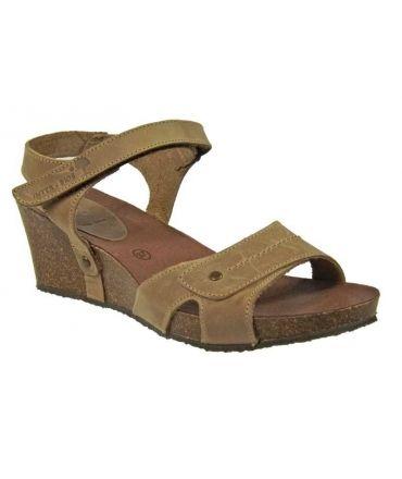 Inter-Bios sandale compensée cuir beige