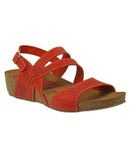 Inter-Bios sandale compensée cuir rouge