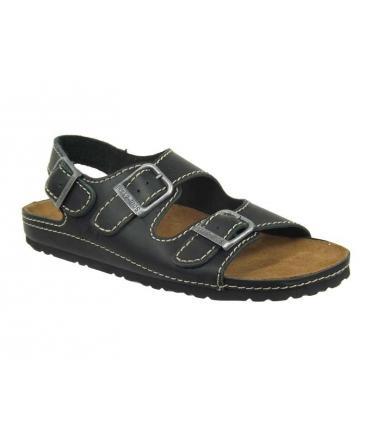 Inter Bios 9504-sandale confort cuir noir, brides réglables