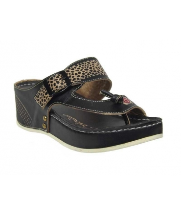Laura Vita sandale entre doigt Scenic cuir noir