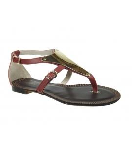 Nu-pieds cuir KDOPA Tania rouge