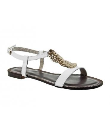 Ventes nu pieds Kdopa Ninon, sandales plates en cuir blanc + bijoux 638ca9c9c4a9