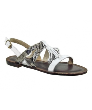 Kdopa sandale nu-pieds Mélanie cuir blanc & python
