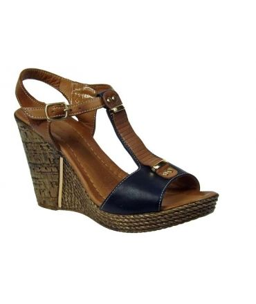Métamorfose sandale haut talon Tabure, cuir bleu marine