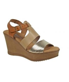 Eva Frutos sandale compensée cuir-6998, beige&or