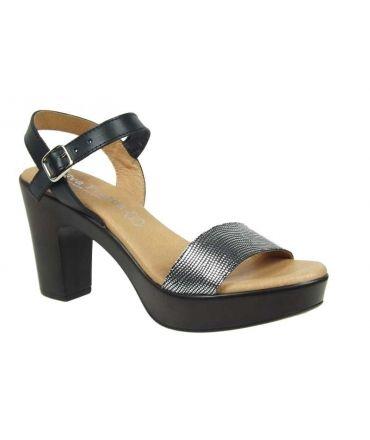 Eva Frutos sandale talon-5890, noir & argent