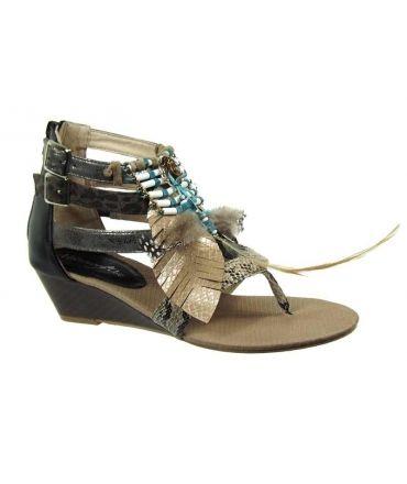 Sandale style tribal Métamorfose Tadret taupe