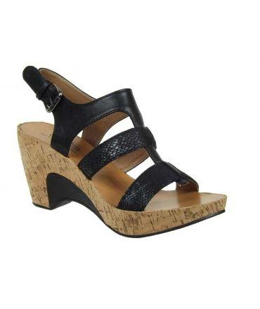 Sandale compensée LPB Shoes Hortensia serpent noir