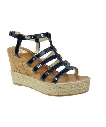 Sandale Kdopa haut compensé Paige vernis bleu